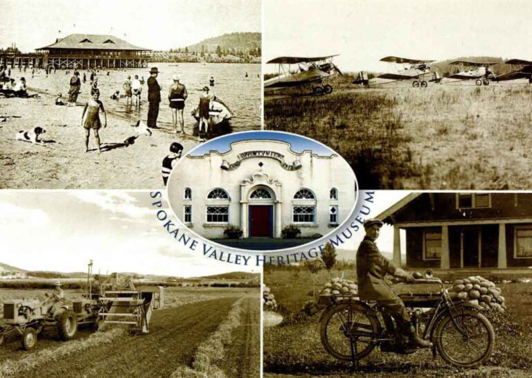 Four historical photos with the Spokane Valley Heritage Museum's logo in the center