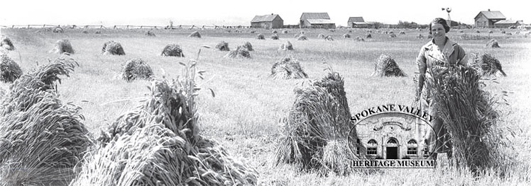 Mary Rauscher stands with the wheat harvest of 1914. The Rauscher place was in east Trent near Barker Road.