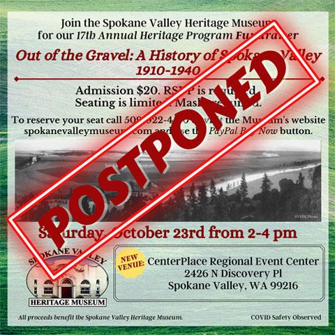 Spokane Valley Heritage Program postponed until further noticed